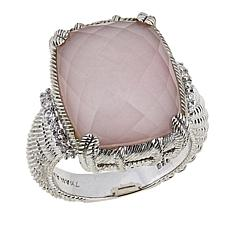 Judith Ripka Rose Quartz and Pink Opal Doublet Sterling Silver Ring