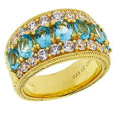 Judith Ripka Sterling Silver 3.06ctw Blue Apatite and Diamonique® Ring