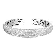 Judith Ripka Sterling Silver Basket-Textured Diamonique® Cuff Bracelet