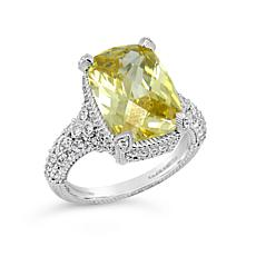 Judith Ripka Sterling Silver Canary Yellow Diamonique® Cocktail Ring