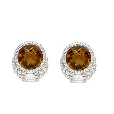 Judith Ripka Sterling Silver Citrine and Diamonique® Earrings