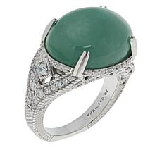 Judith Ripka Sterling Silver Colored Jade and Diamonique® Ring
