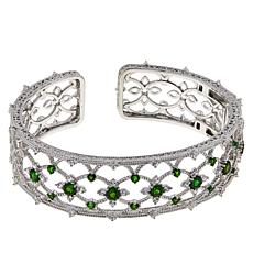 Judith Ripka Sterling Silver Diamonique® and Chrome Diopside Cuff