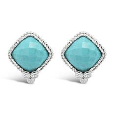 Judith Ripka Sterling Silver Diamonique® and Turquoise Stud Earrings
