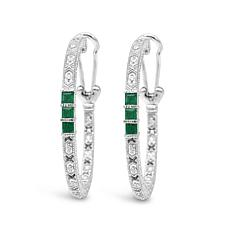Judith Ripka Sterling Silver Diamonique® Emerald Hoop Earrings
