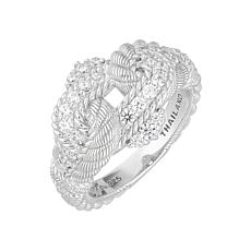 Judith Ripka Sterling Silver Diamonique® Interlace Ring