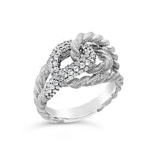 Judith Ripka Sterling Silver Diamonique® Textured Intertwine Ring