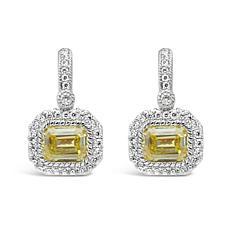 Judith Ripka Sterling Silver Emerald-Cut Canary Diamonique® Earrings