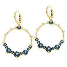 Judith Ripka Sterling Silver London Blue Topaz Door-Knocker Earrings