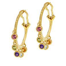 Judith Ripka Sterling Silver Multi-Gemstone Rainbow Hoop Earrings