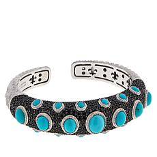 Judith Ripka Turquoise, Onyx and Black Spinel Cuff Bracelet