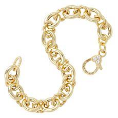 Judith Ripka Verona 14K Gold-Clad Polished and Textured Link Bracelet