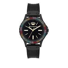 Juicy Couture Rainbow Crystal Black Strap Watch