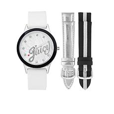 Juicy Couture Silvertone Interchangeable 3-Strap Watch