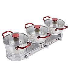 Kalorik 1650-Watt Stainless Steel Triple Buffet Burner