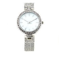 Kessaris Women's Crystal-Accented Mesh Bracelet Watch