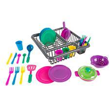 Kids Play Dish Set  27 Piece Tableware Dish Set with Dish Drainer b...