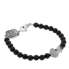 King Baby CZ Crowned Heart Onyx Bead Stretch Bracelet
