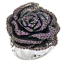 King Baby Jewelry Sterling Silver Crystal Rose Ring