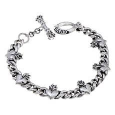 King Baby Sterling Silver Heart Toggle Bracelet