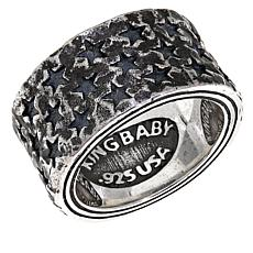 King Baby Sterling Silver Men's Star Band Ring