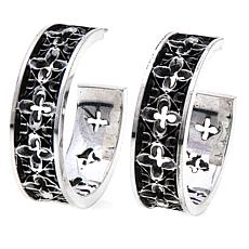 King Baby Sterling Silver Relic Cross Hoop Earrings