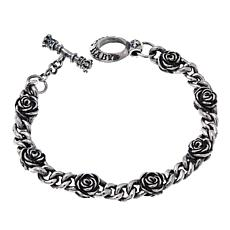 King Baby Sterling Silver Rose Station Chain Bracelet