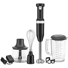 KitchenAid Cordless Hand Blender w/ Chopper & Whisk, Black Matte