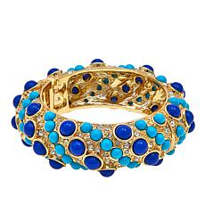 "KJL by Kenneth Jay Lane ""High Drama"" Blue Cabochon Bangle Bracelet"