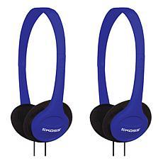 Koss KPH7 2-pack Wired On-Ear Stereo Headphones - Blue