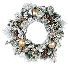 "Kurt Adler 24"" Battery-Operated 30-Light LED Flocked Wreath"