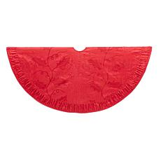Kurt Adler Red Sequined and Holly Tree Skirt - 48""