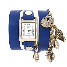 La Mer Montauk Goldtone Chain Blue Leather Wrap Watch