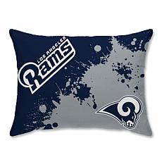 """LA Rams Splatter Print Plush 20x26"""" Bed Pillow"""