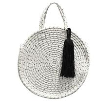 La Regale Round Braided Rope Tassel Tote Bag