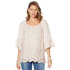 LaBellum by Hillary Scott Embroidered Bell-Sleeve Top