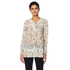 LaBellum by Hillary Scott Printed Laceup Peasant Top