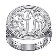 Ladies Script Circle Monogram Ring
