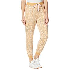 Laila Ali Printed French Terry Knit Lace-Up Jogger