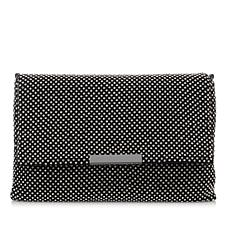 LaRegale Crystal Shimmer Mesh Flap Clutch