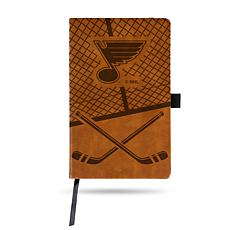 Laser-Engraved Brown Notepad with Elastic Band - Blues