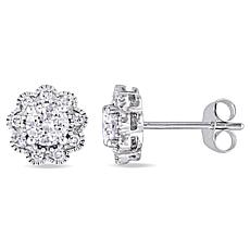 Laura Ashley 0.99ctw Diamond 10K Flower-Design Studs