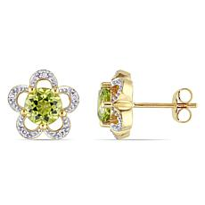 Laura Ashley 1.89ctw Peridot and Diamond 10K Earrings