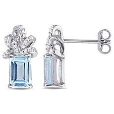Laura Ashley Blue Topaz & Diamond Sterling Bow Studs