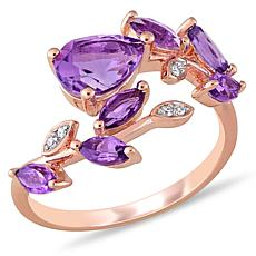 Laura Ashley Rose-Plated  Amethyst and Diamond Bypass Ring