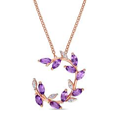 Laura Ashley Rose-Tone Amethyst and Diamond Leaf-Style Drop Necklace