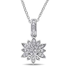 "Laura Ashley White Sapphire Flower 20"" Pendant Necklace"