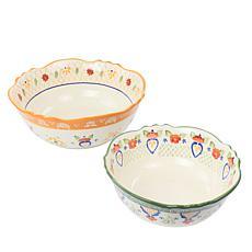 Laurie Gates Tierra 2pcs Stoneware Bowl Set in Floral