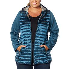 Laurier Hooded Puffer Jacket with Soft Shell Sleeves