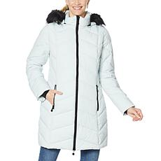 Laurier Stretch Quilted Coat with Removable Faux Fur Trim Hood